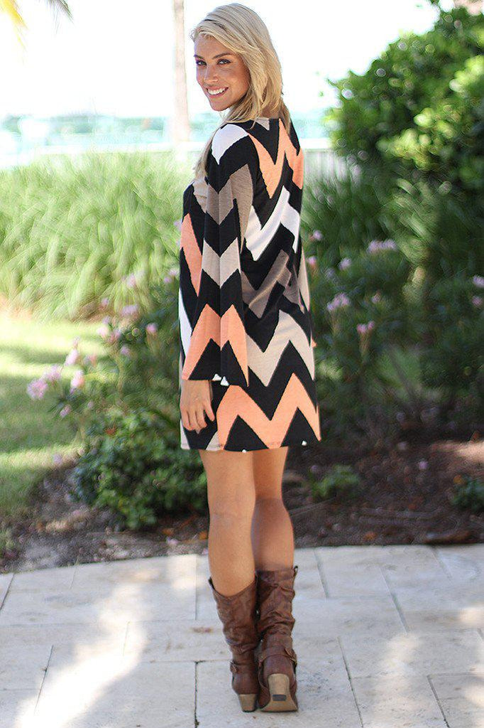 taupe and peach short dress