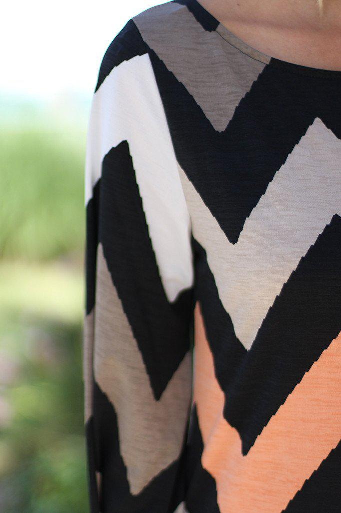 Taupe And Peach Short Chevron Dress