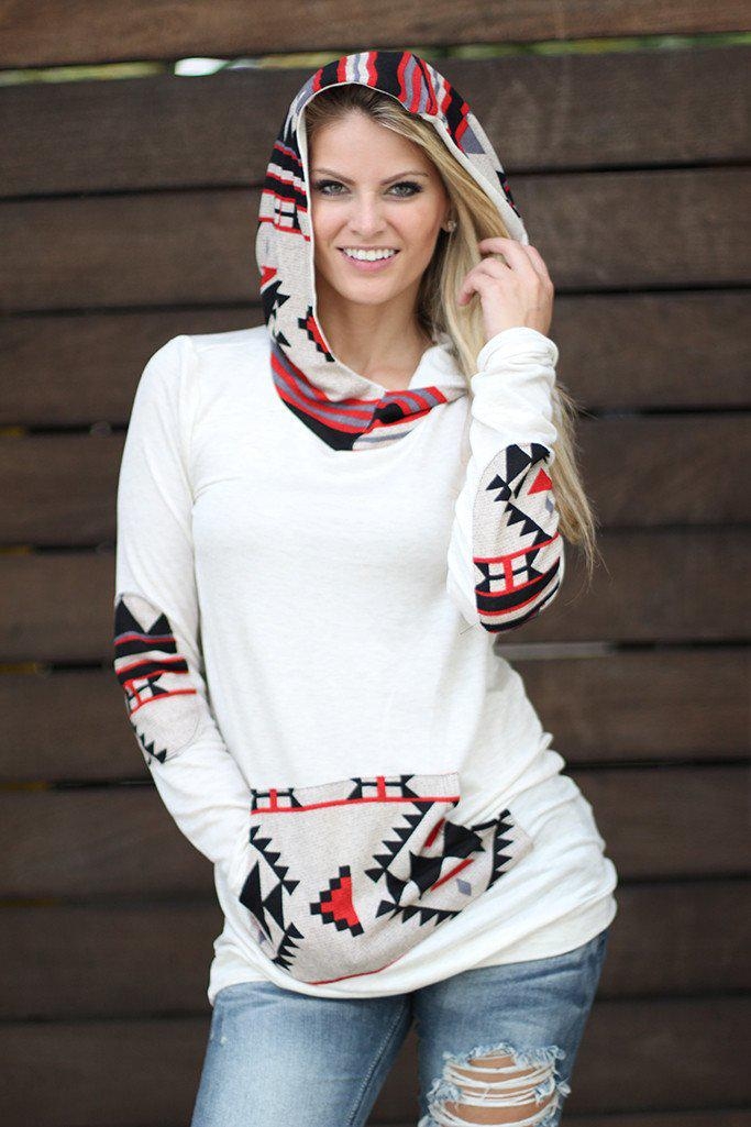 Taupe Aztec Hoodie with Pocket
