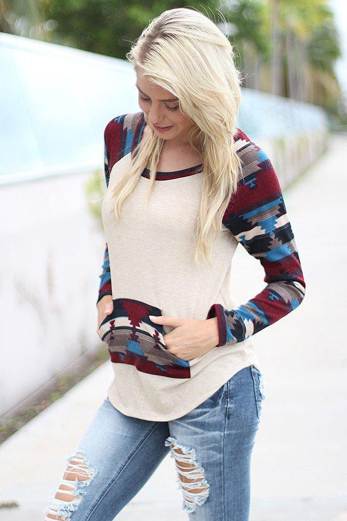 Taupe Aztec Sweater with Pocket