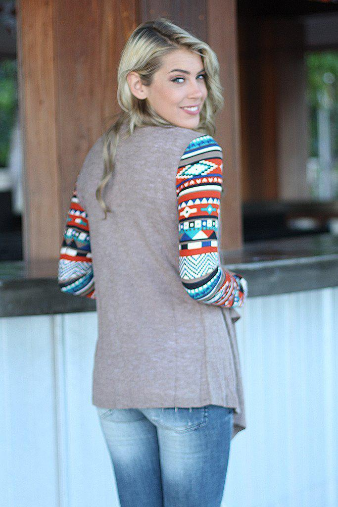 Taupe Cardigan With Printed Sleeves