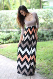 Taupe Chevron Maxi Dress