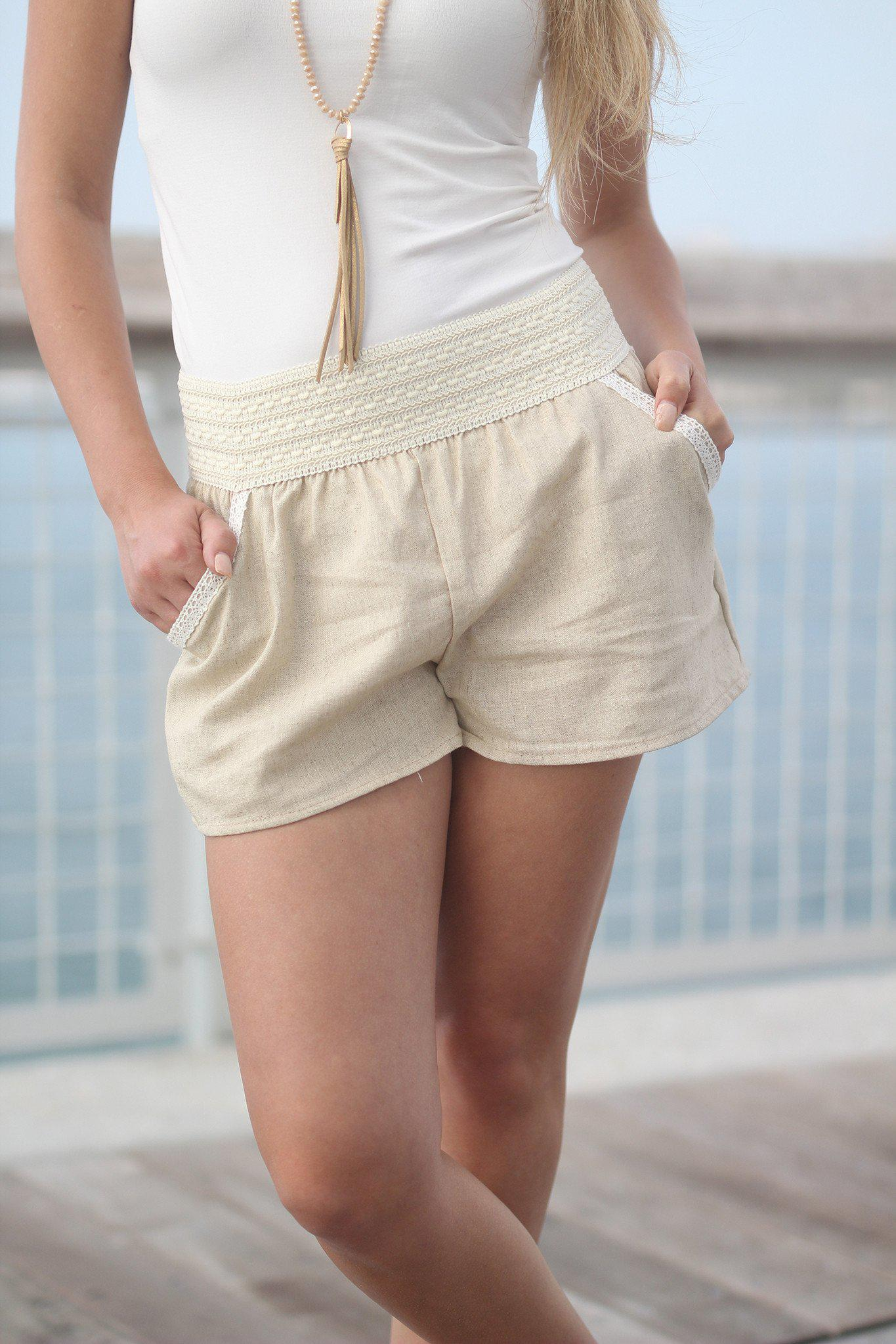 Taupe Shorts with Pockets