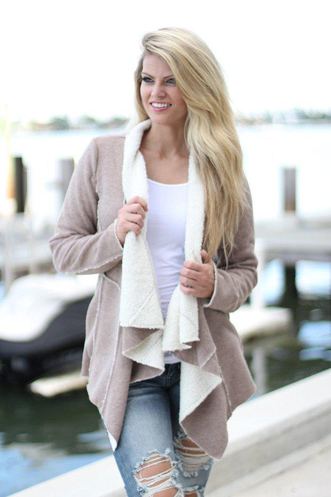 Taupe Faux Fur Cardigan With Pockets