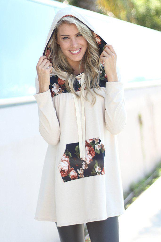 Taupe Floral Hooded Tunic
