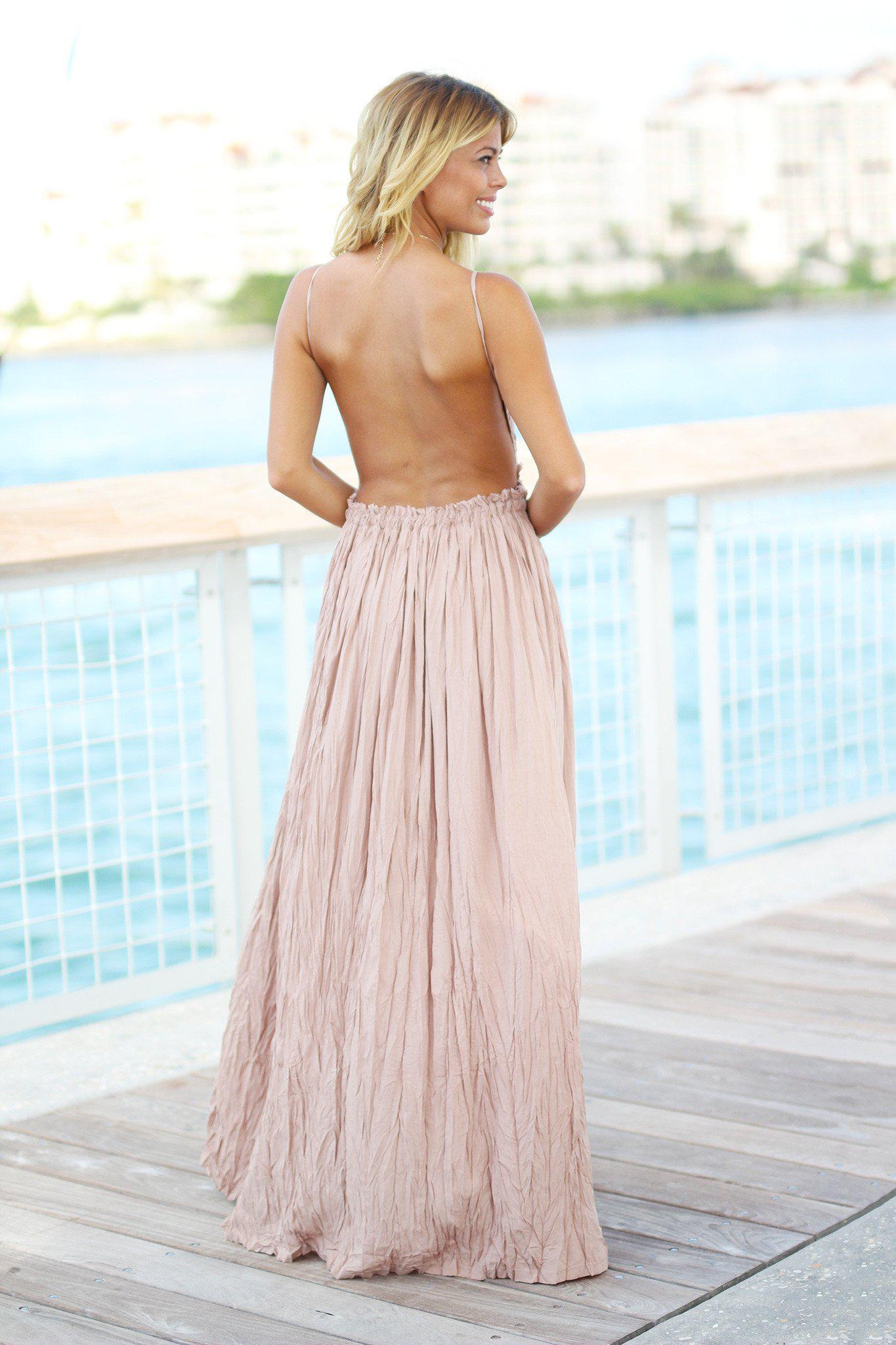 Mocha Lace Maxi Dress with Open Back