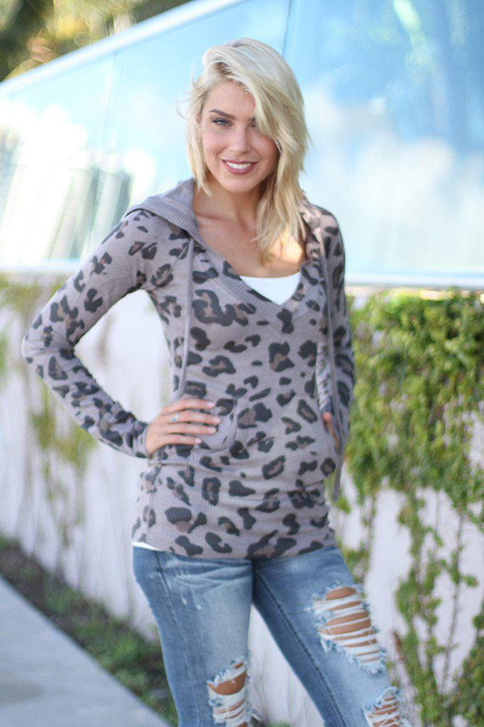 Taupe Leopard Print Hooded Sweater
