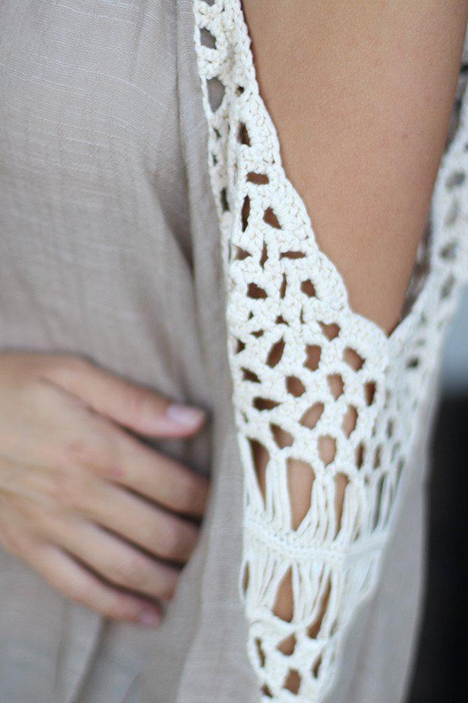 Taupe Off Shoulder Top With Crochet Detail