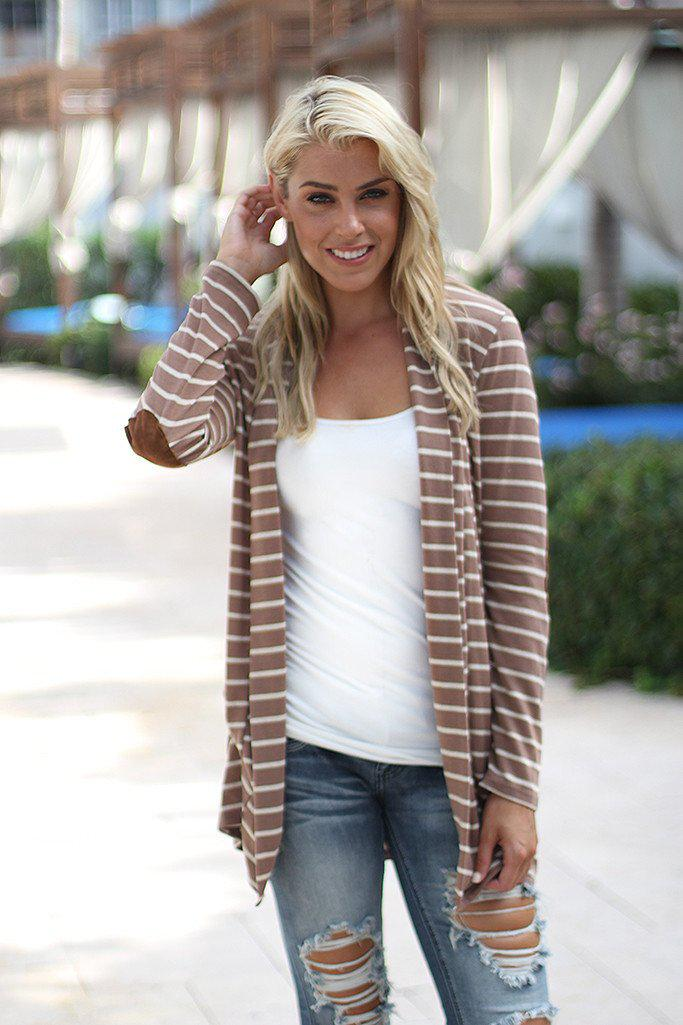 Taupe Striped Cardigan With Elbow Patches
