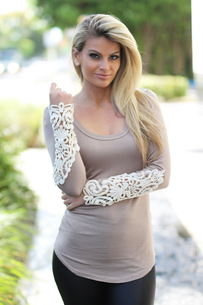 taupe top with crochet sleeves