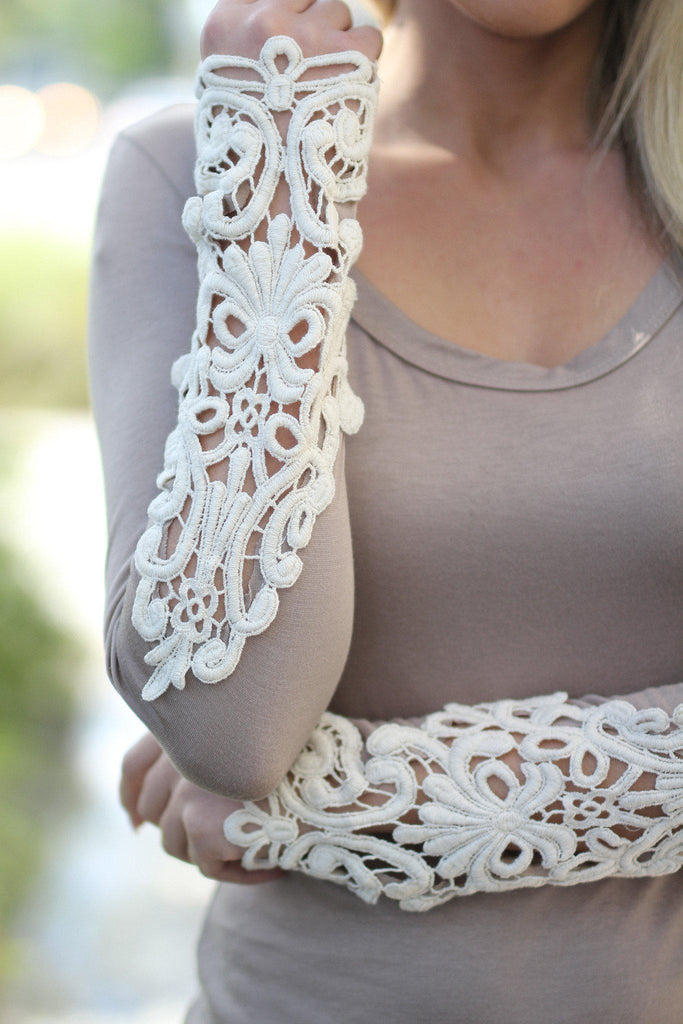 taupe crochet sleeve top