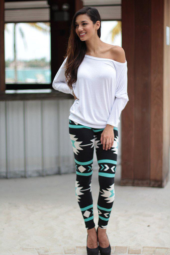 teal and black cute leggings