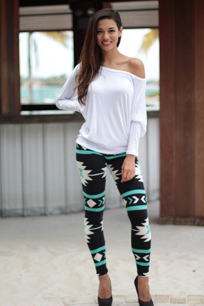 Teal And Black Tribal Print Leggings