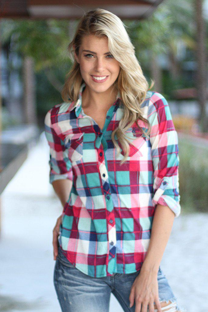 Teal And Magenta Plaid Top