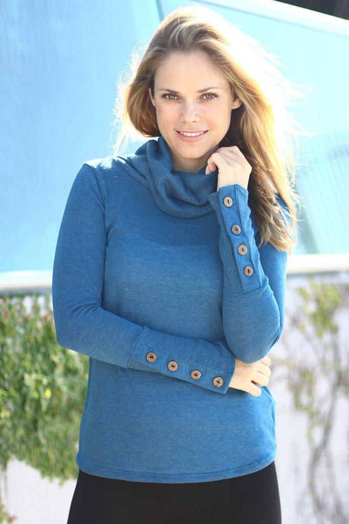 Teal Long Sleeve Top with Buttons