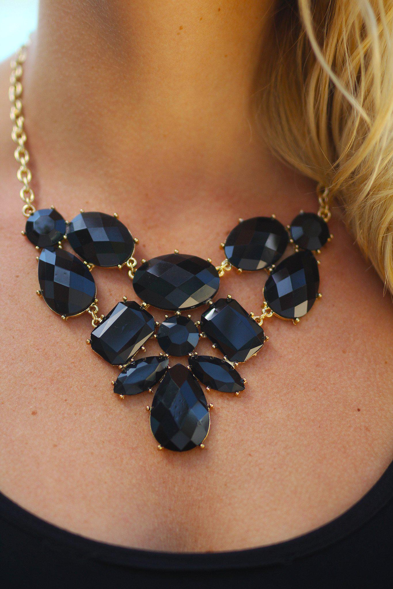 Black and Gold Bib Necklace