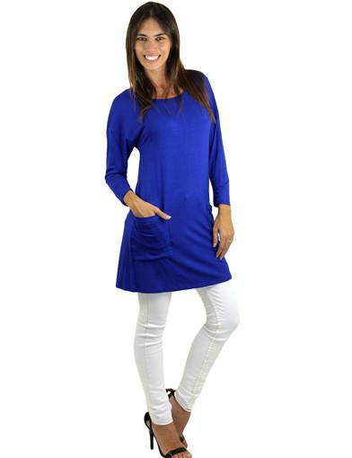 Royal Blue Top With ¾ Sleeves