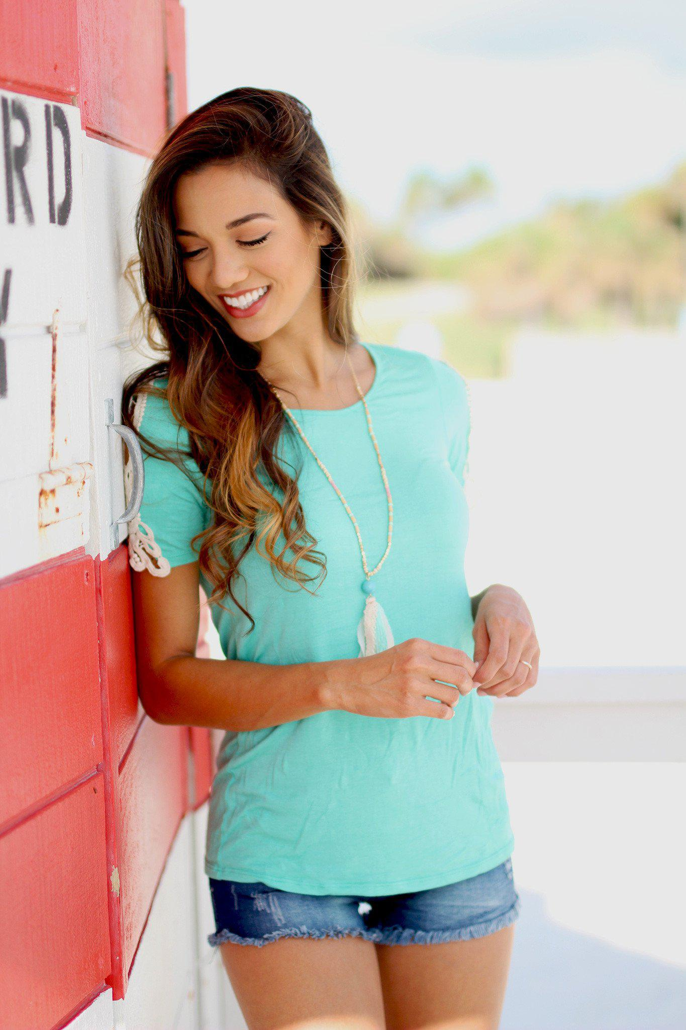 Mint Top with Crochet Short Sleeve