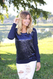 sequined navy sweatshirt