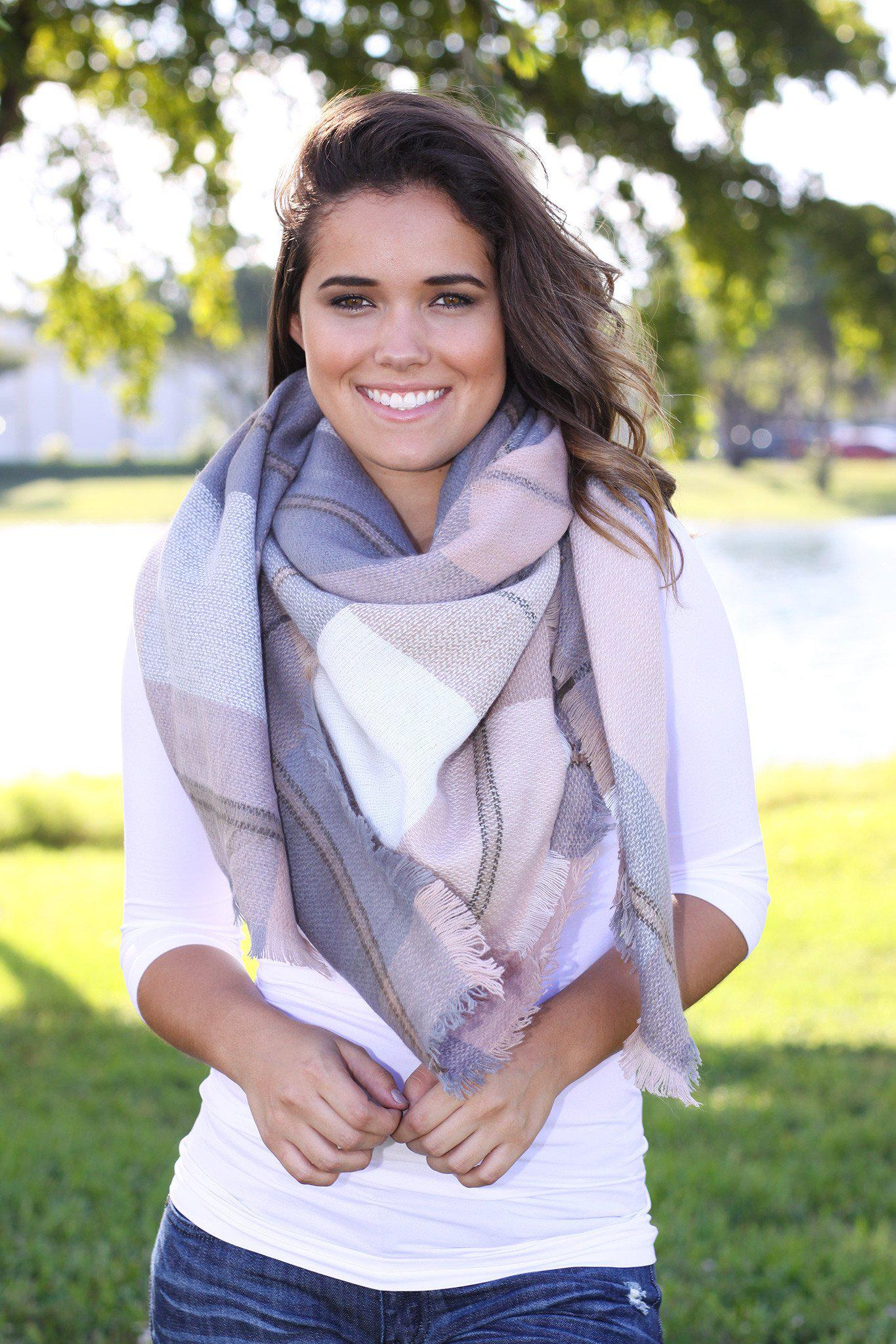 blush and gray warm scarf