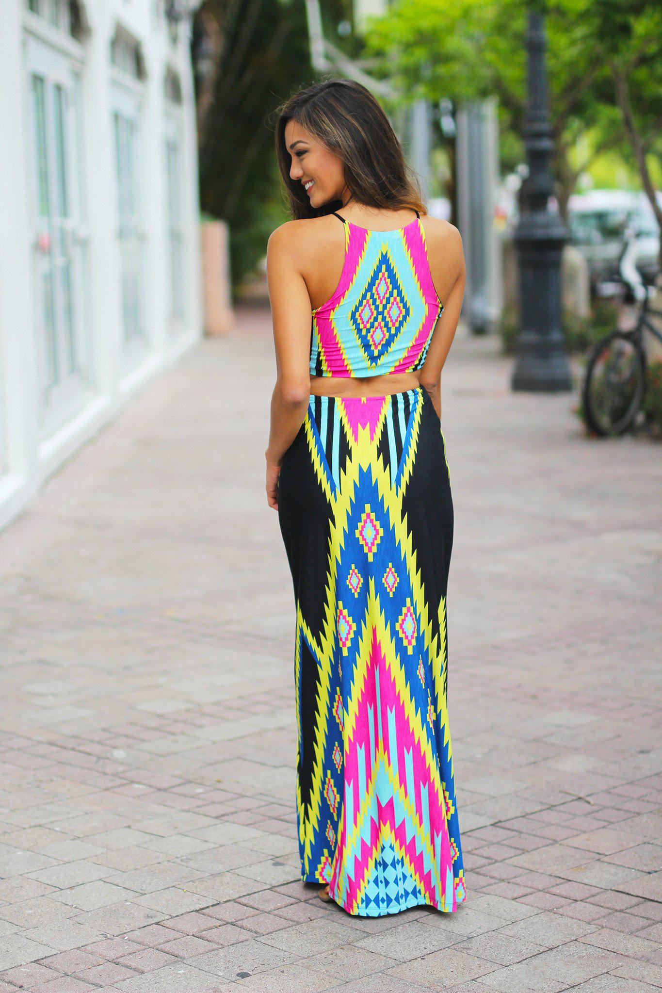 Black Tribal Cut Out Maxi Dress