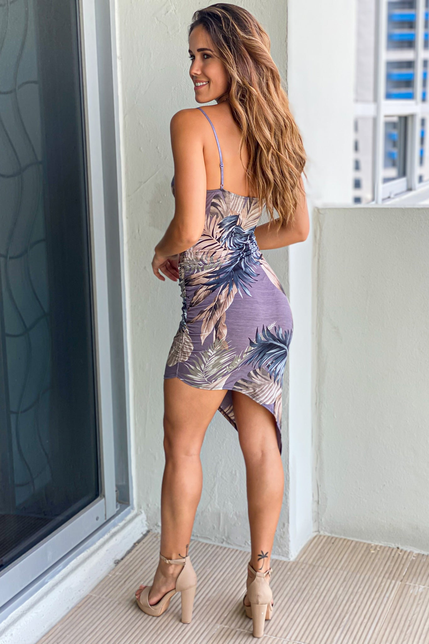 tropical asymmetrical short dress