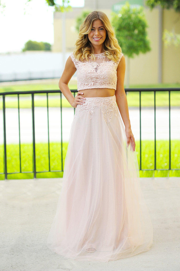 Blush Crochet Crop Top and Tulle Set