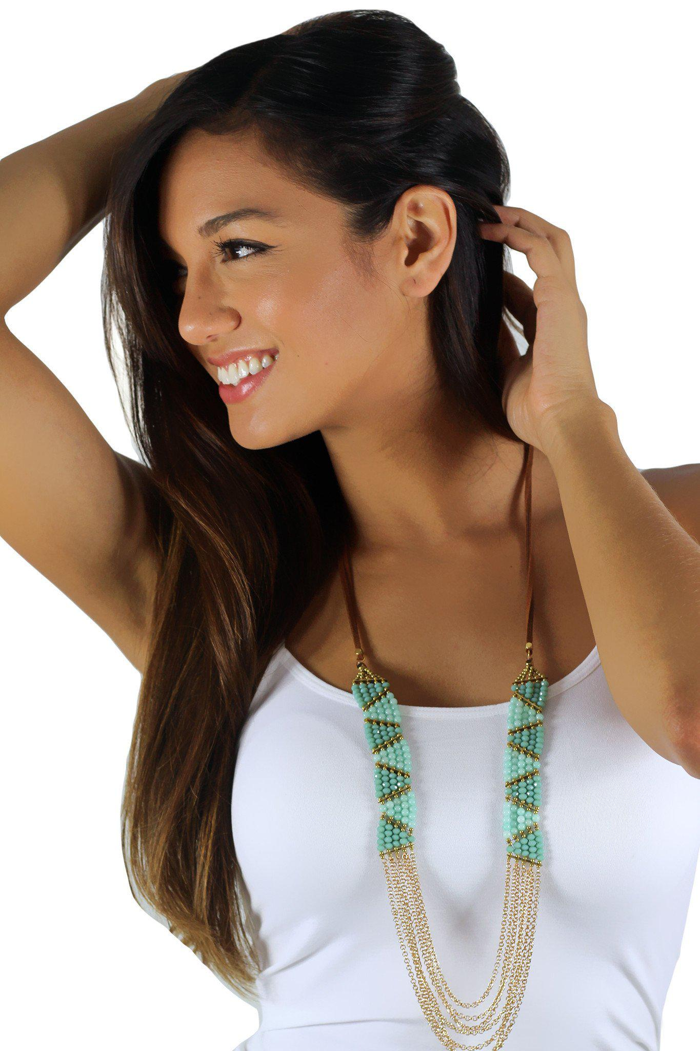 Turquoise and Mint Beaded Necklaces