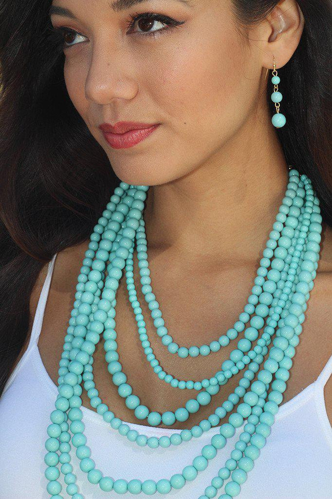 Turquoise Beaded Necklace And Earrings Set