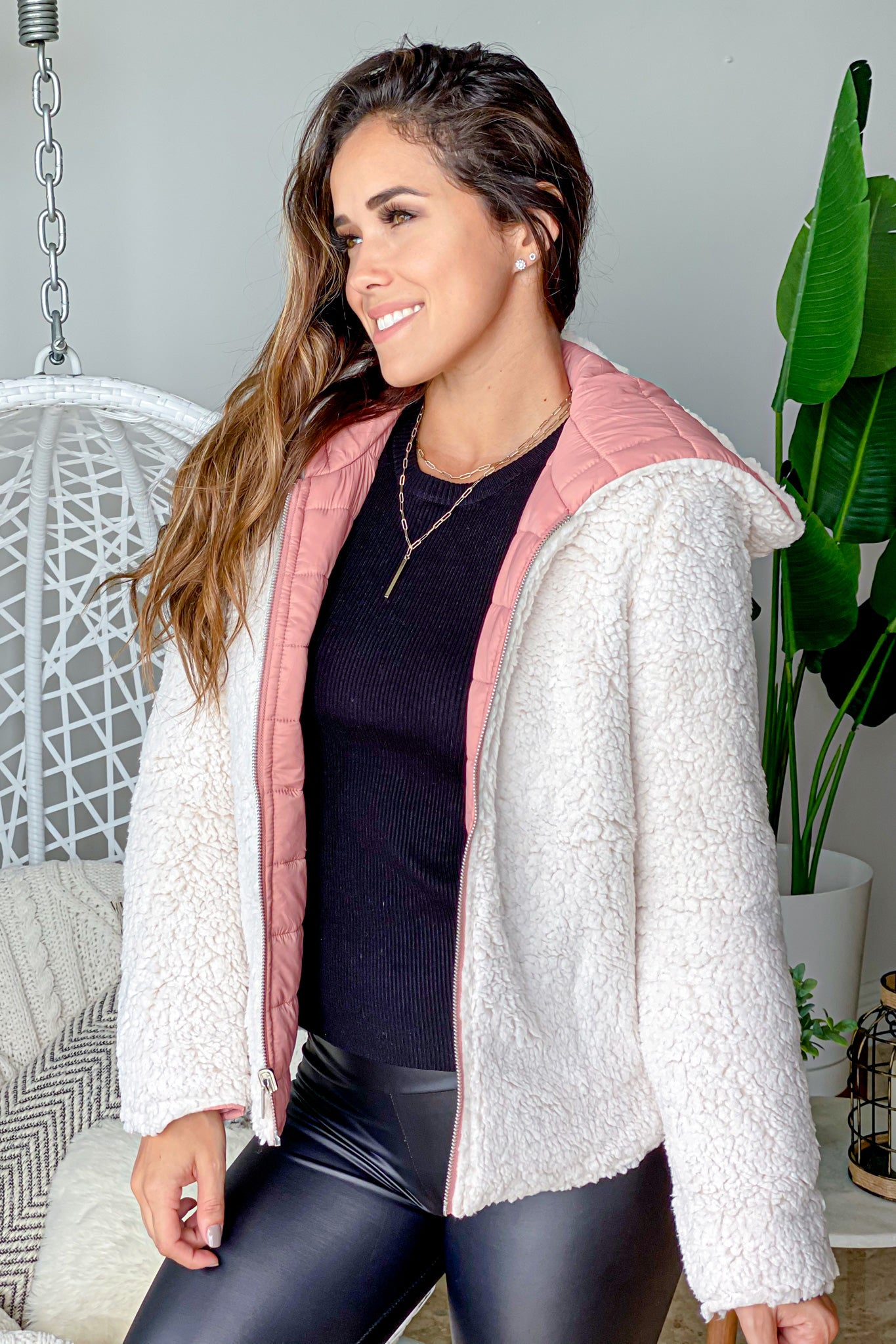 two sides mauve and sherpa jacket