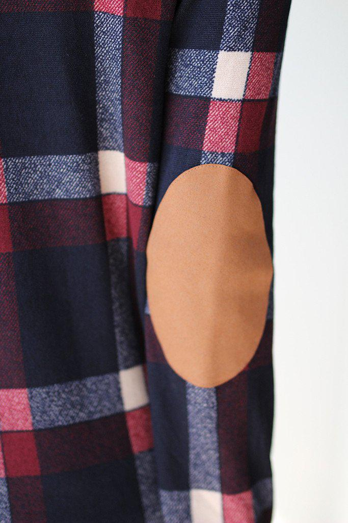 Navy and Burgundy Plaid Cardigan with Elbow Patches
