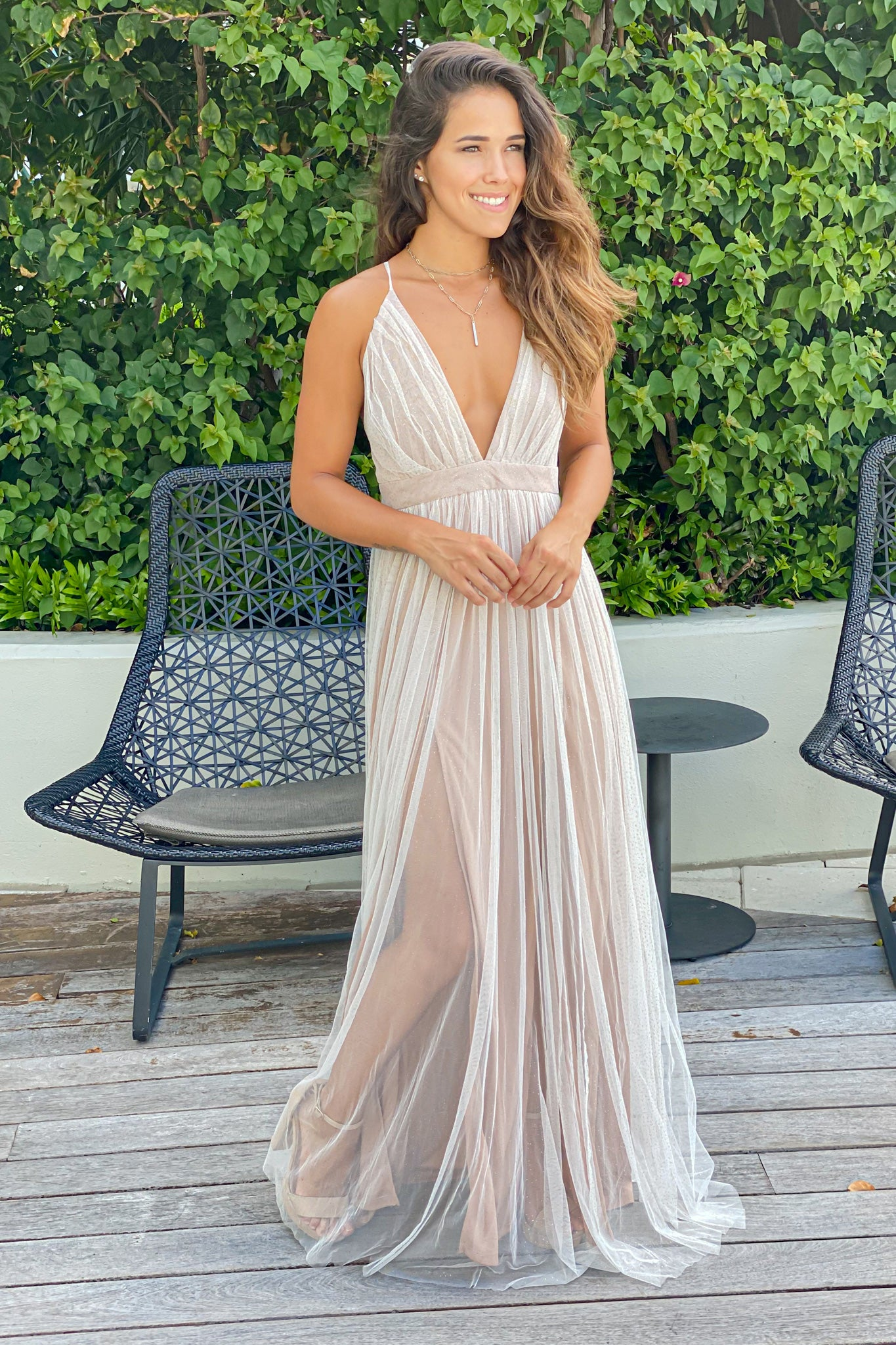 white and beige formal maxi dress