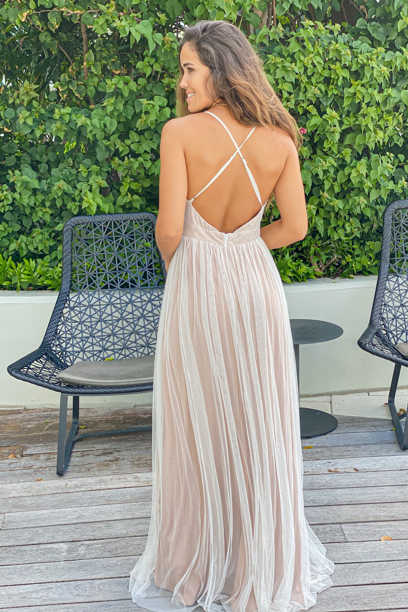 white and beige prom maxi dress
