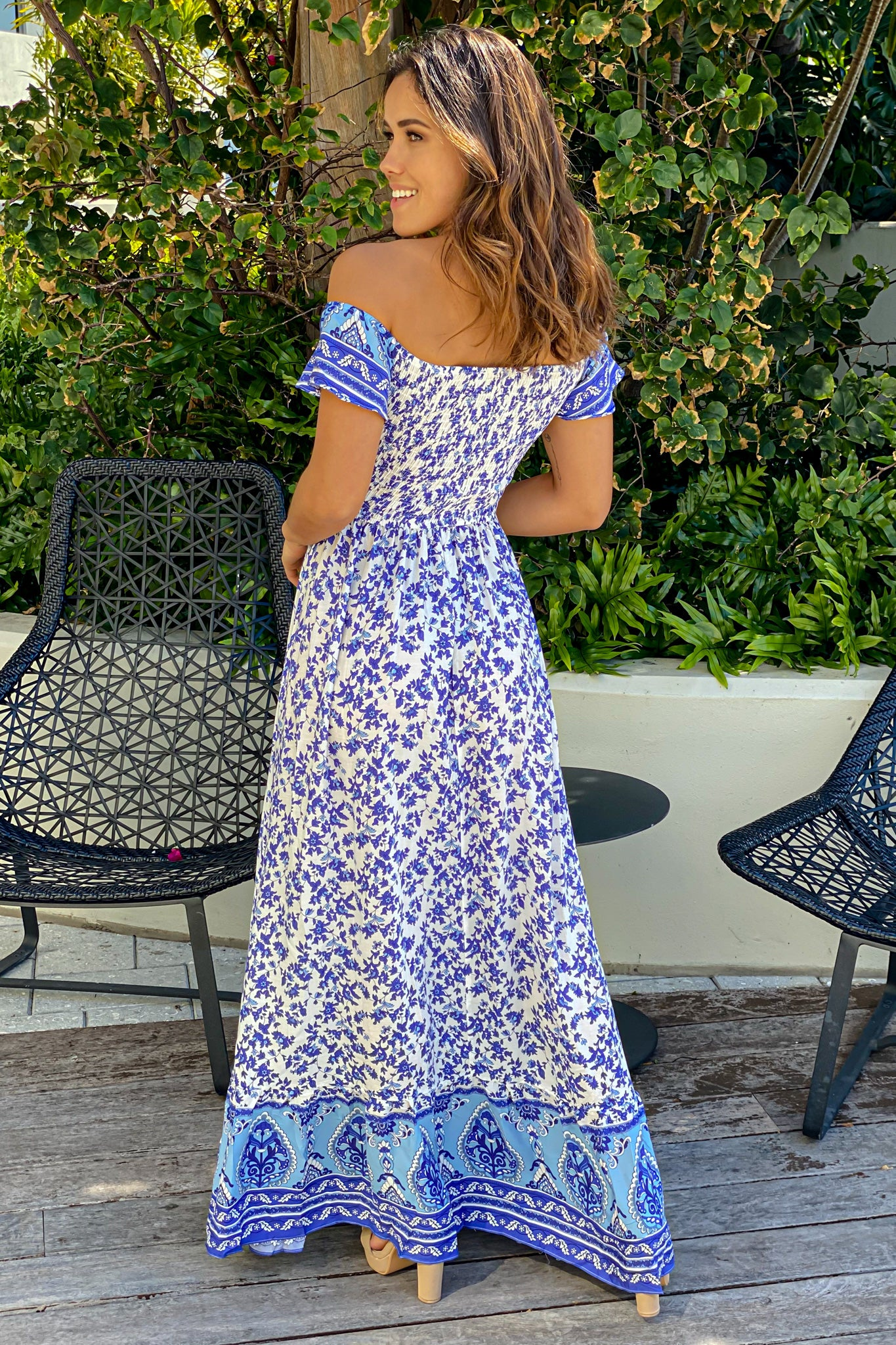 white and blue printed maxi dress