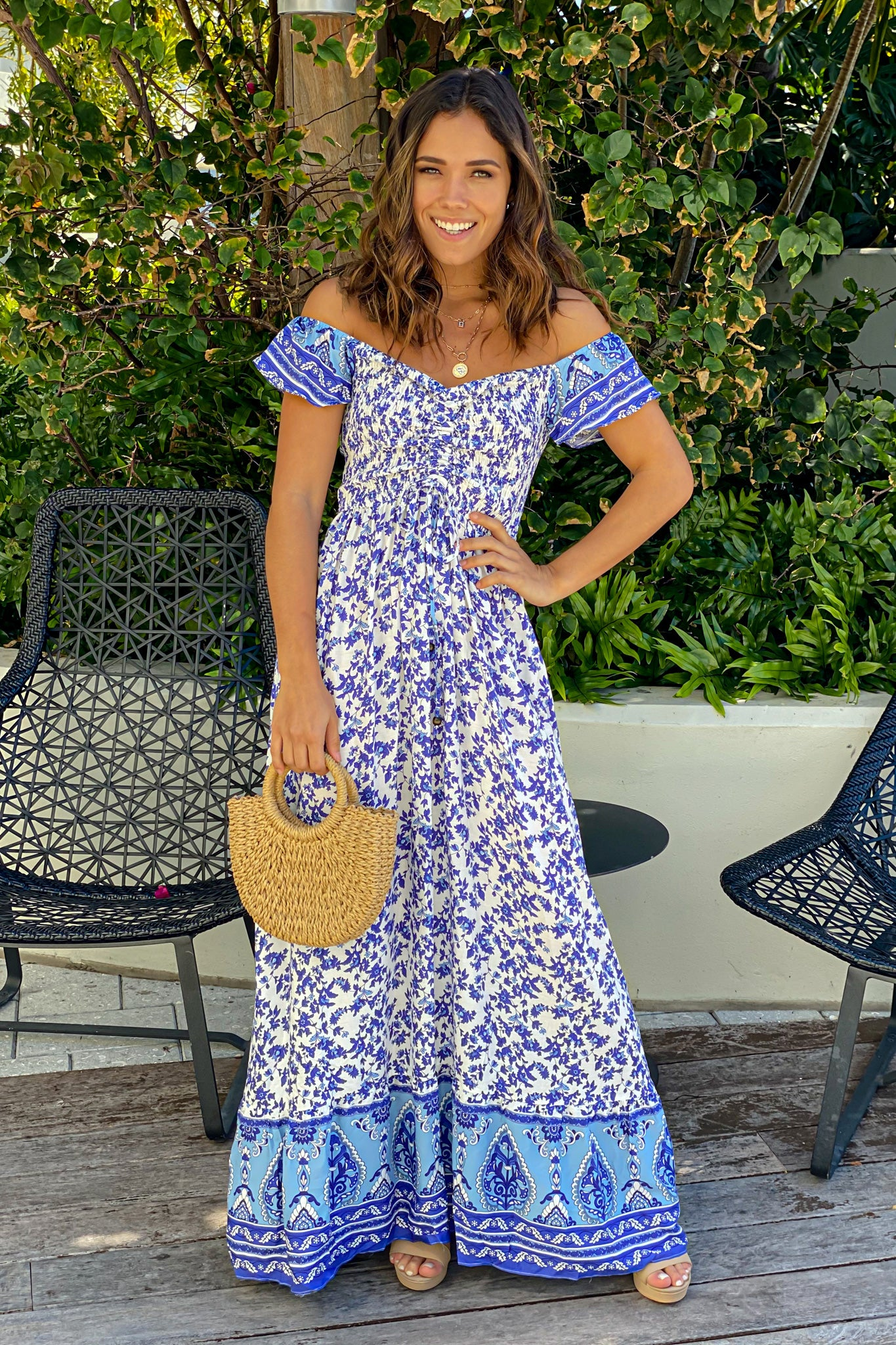 white and blue off shoulder printed maxi dress