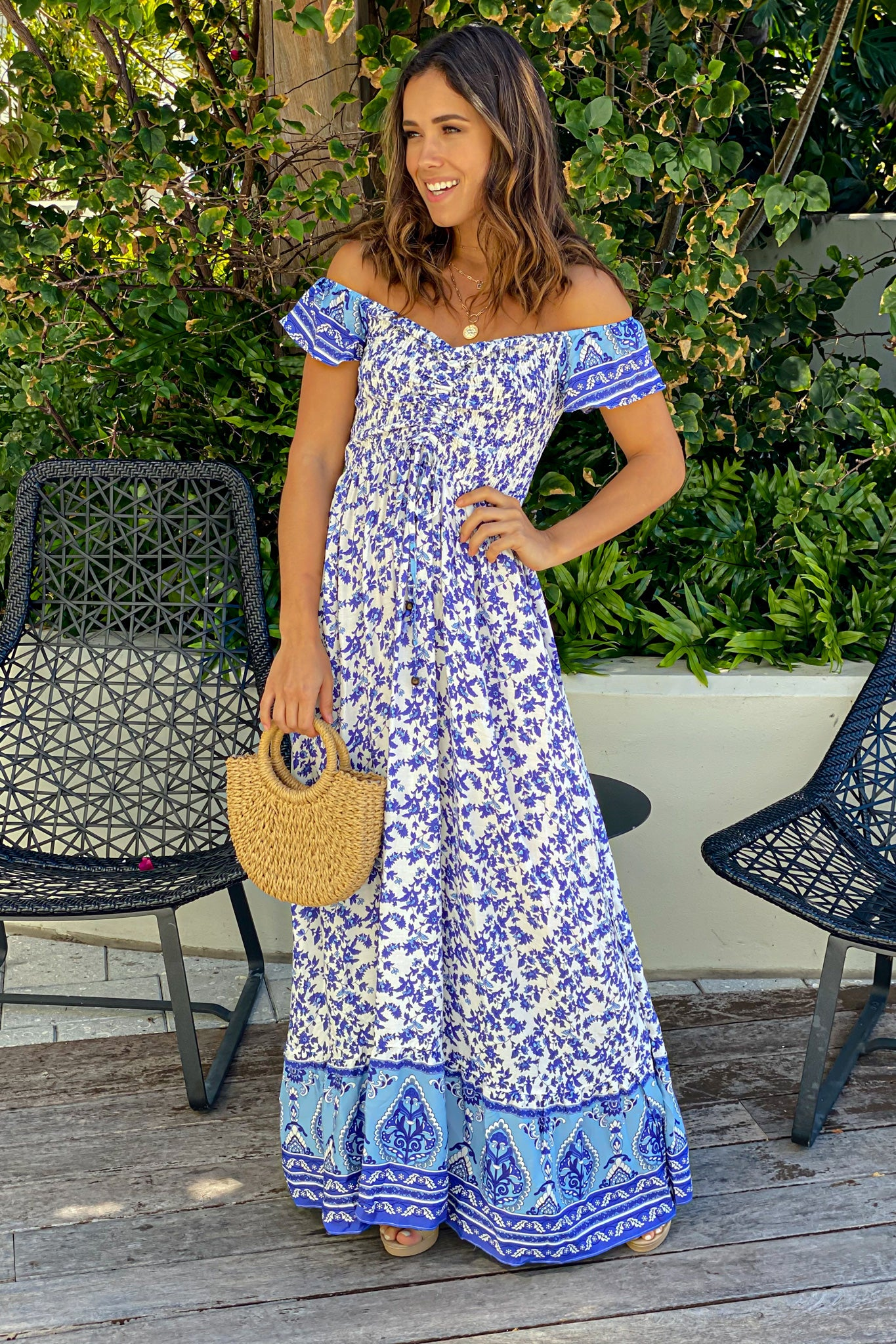 white and blue summer maxi