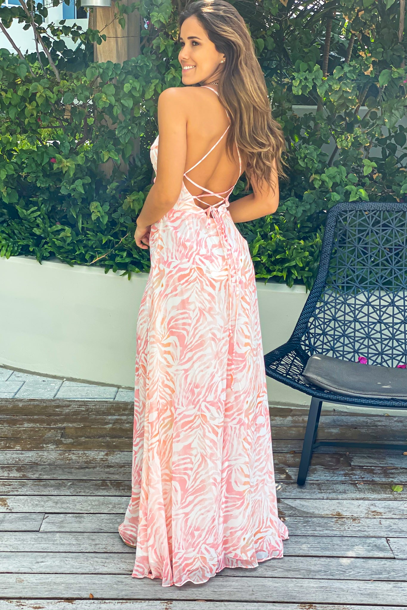 white and coral open back maxi dress
