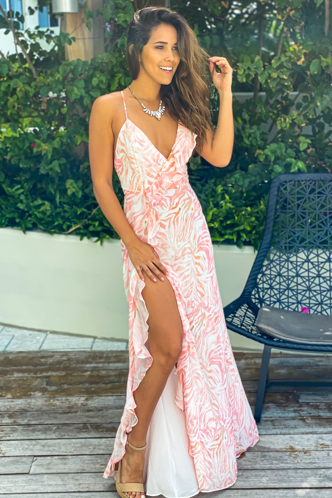 white and coral prom maxi dress