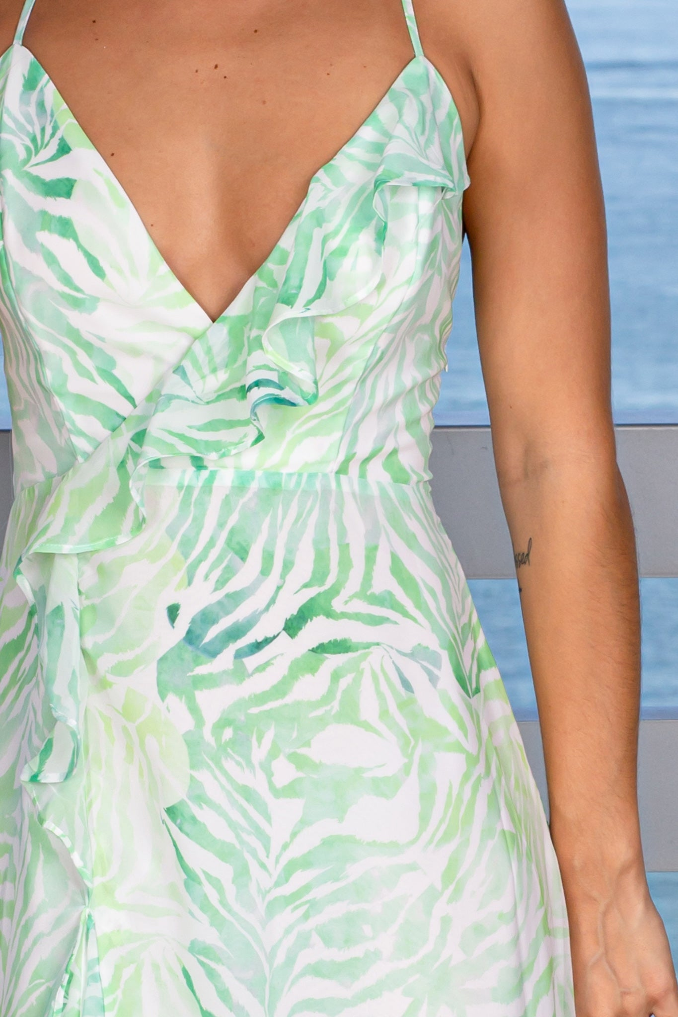white and green party dress