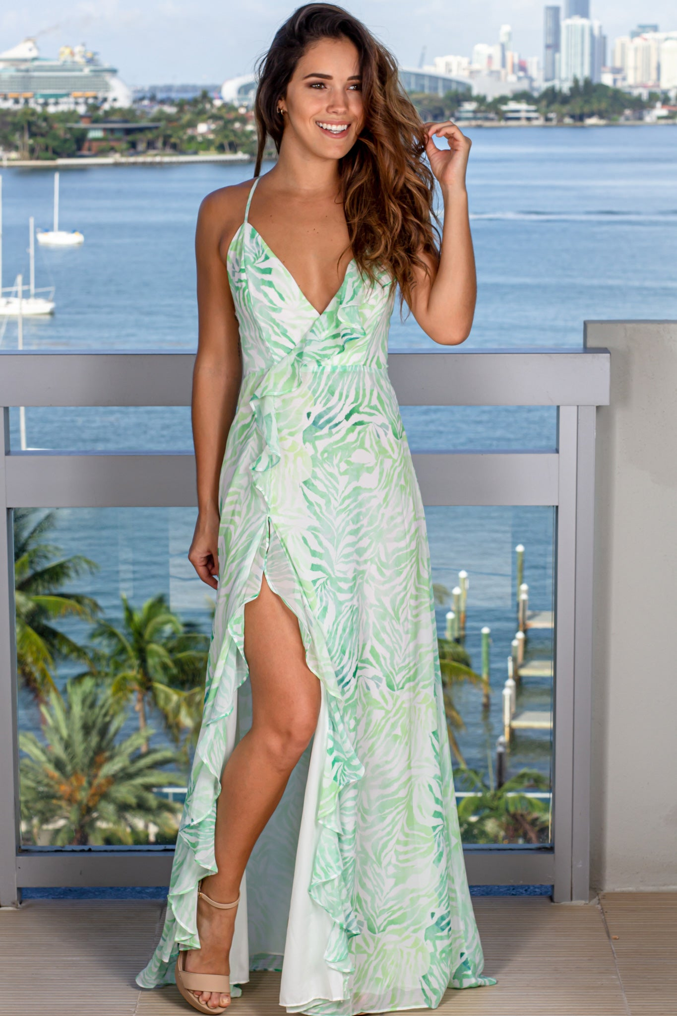 white and green prom maxi dress