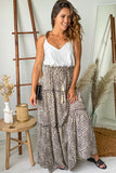 white and leopard casual maxi dress