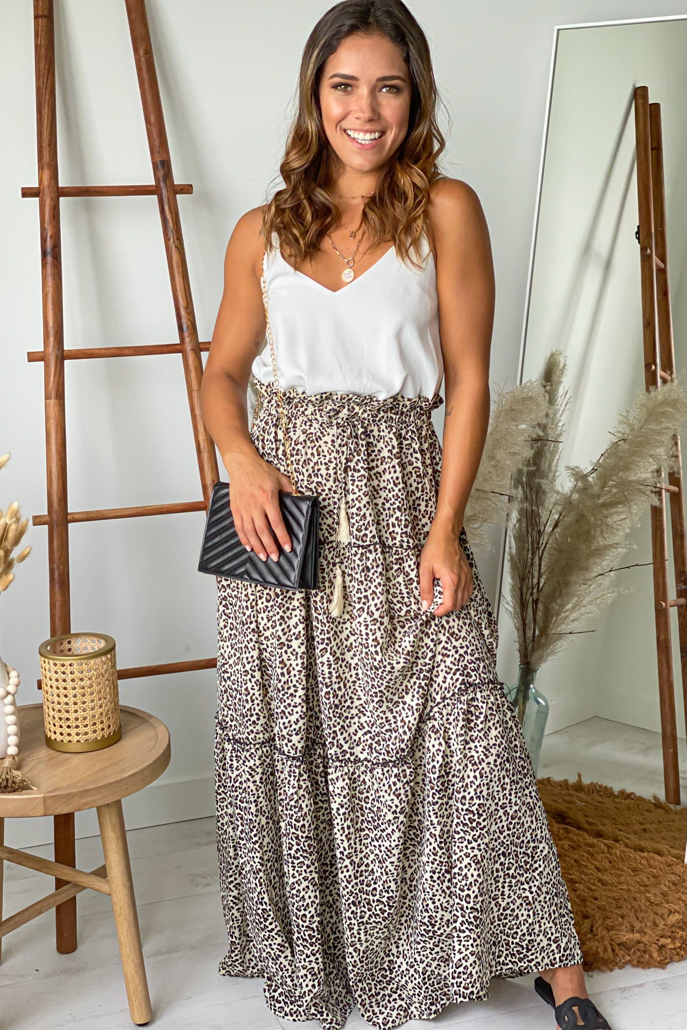 white and leopard maxi dress