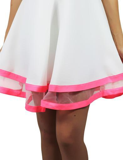 White and neon pink skater dress - zoomed view