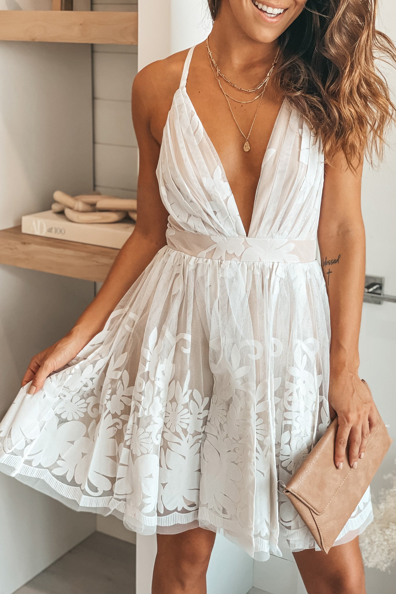 white and nude printed short dress with criss cross back