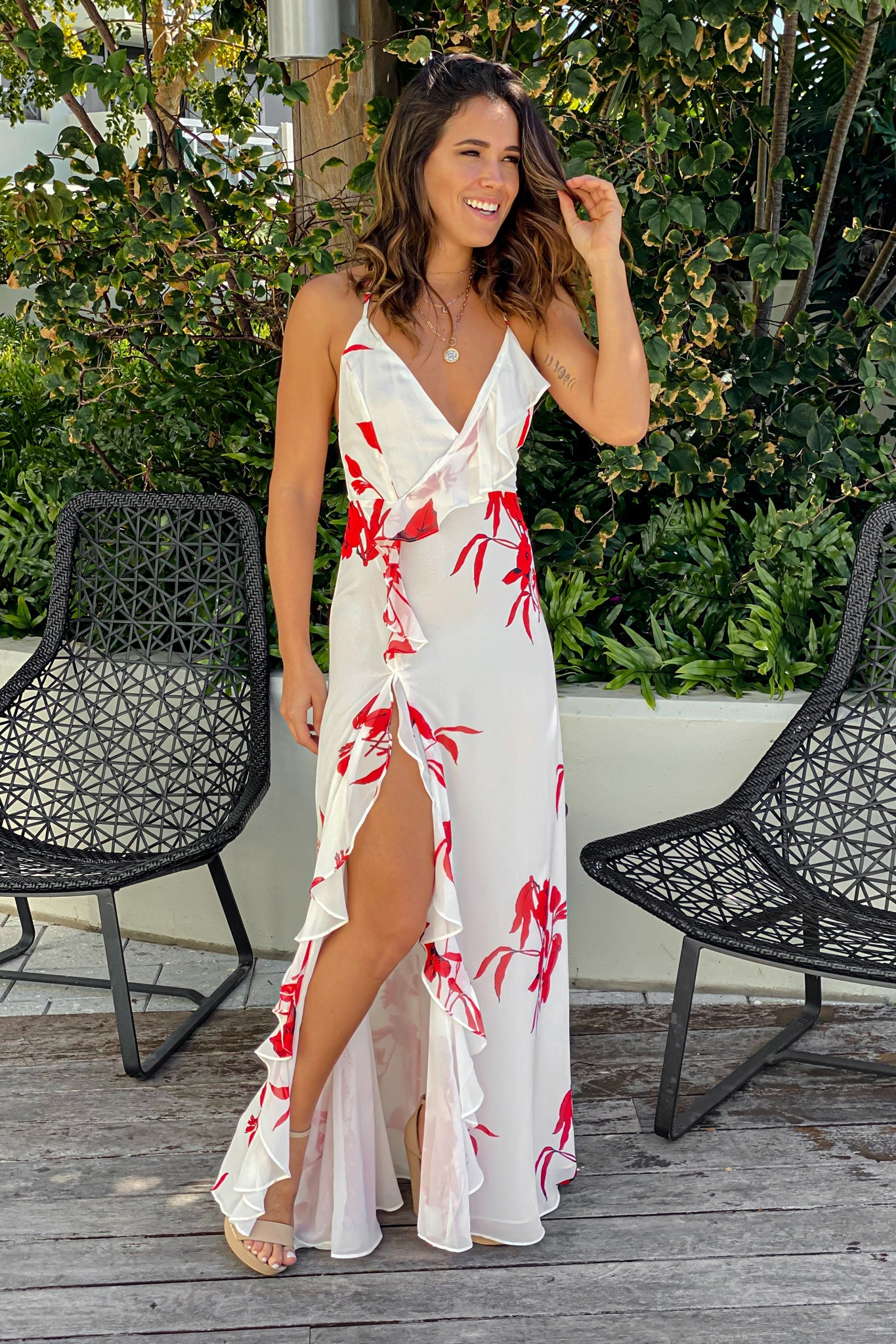 white and red maxi dress