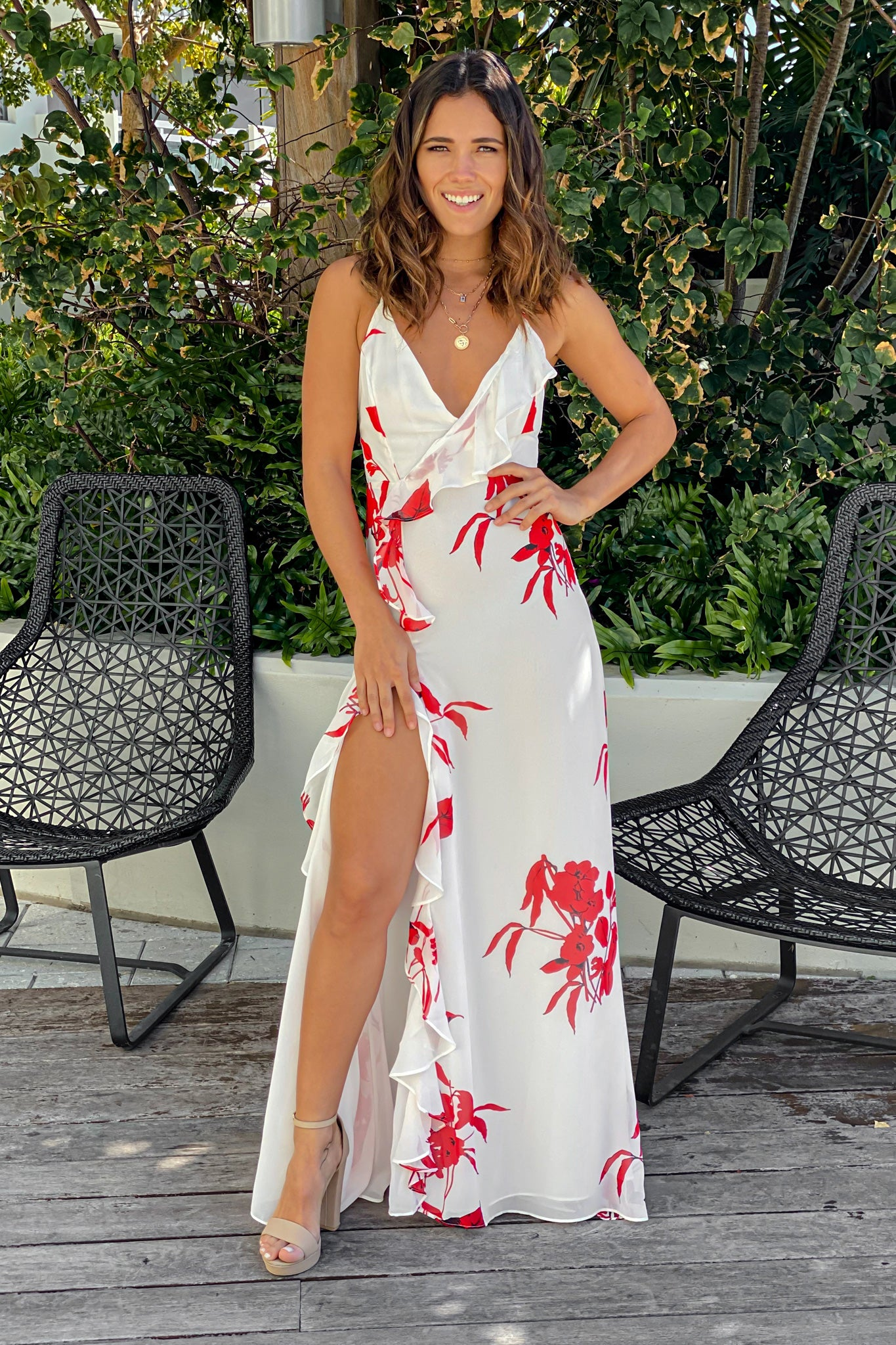 white and red ruffled maxi dress with slit