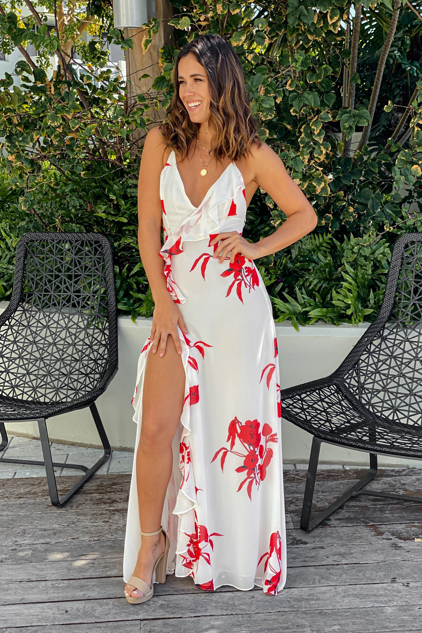 white and red summer maxi dress