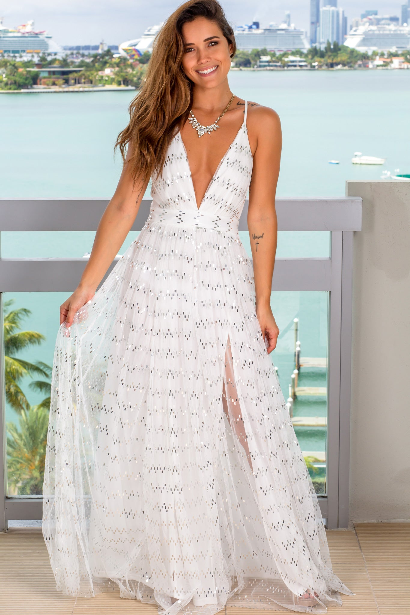 white and silver sequin maxi dress