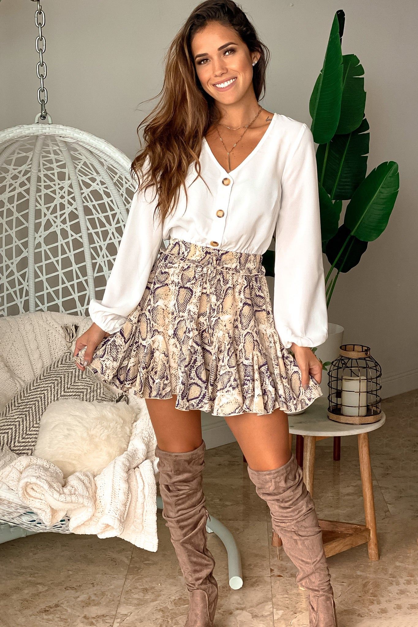 white and snake cute romper