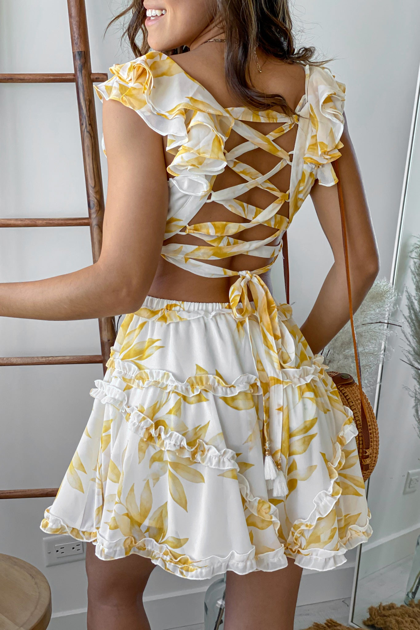 white and yellow floral short dress with strappy back